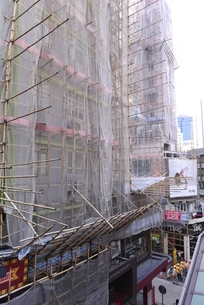 竹でできている工事現場の足場の写真素材 [FYI01471259]