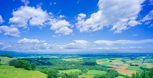 北海道 自然 風景 十勝平野   青空と雲の写真素材 [FYI01471486]
