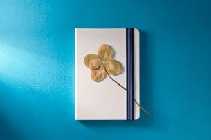 四葉のクローバーの枝折と白いノートの写真素材 [FYI01472078]