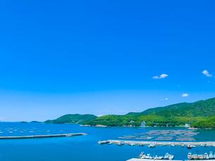 新緑の山並みと青空の室津湾の写真素材 [FYI01472573]