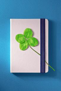 四葉のクローバーと白いノートの写真素材 [FYI01472963]