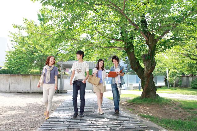 キャンパスを歩く4人の大学生の写真素材 [FYI01474044]
