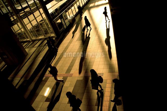 歩く人々のシルエットの写真素材 [FYI01474165]