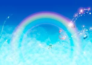虹と音符のイラスト素材 [FYI01475379]