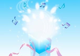 プレゼントの中から溢れる光と音符のイラスト素材 [FYI01475395]