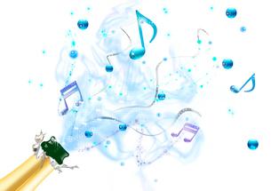 シャンパンから溢れる音符のイラスト素材 [FYI01475675]