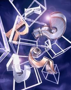 数字や記号と四角形のアブストラクト(紫)  CGのイラスト素材 [FYI01476017]