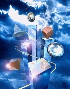 直方体や三角すいや球体のアブストラクト  CGのイラスト素材 [FYI01476070]