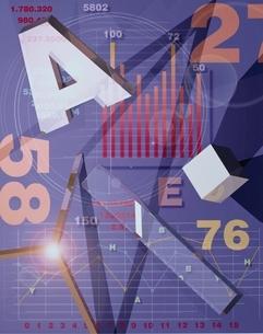 数字やアルファベットやグラフ(紫)  CGのイラスト素材 [FYI01476193]