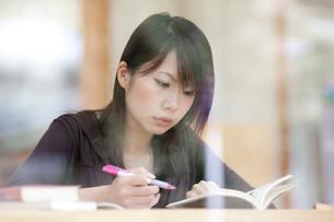 勉強をする女子大生の写真素材 [FYI01476606]