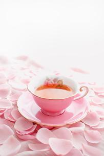 紅茶を入れたピンク色のティーカップとピンク色のバラの花びらの写真素材 [FYI01476736]