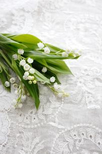 刺繍のある白い布の上に置かれた小さなスズランの花束の写真素材 [FYI01476896]