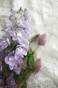 刺繍をほどこした布の上に置かれた薄紫のデルフィニュウムの花の写真素材 [FYI01476945]