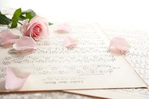 楽譜の上の一輪のバラの花の写真素材 [FYI01477236]