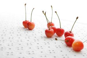 白いレースの上の赤いさくらんぼの写真素材 [FYI01477848]
