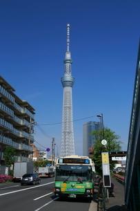 スカイツリーと浅草通りの都バスの写真素材 [FYI01478134]