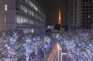けやき坂のイルミネーションと東京タワーの夜景の写真素材 [FYI01478642]