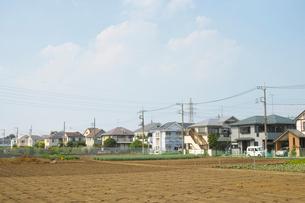 東京郊外の休耕地と住宅街の写真素材 [FYI01478754]