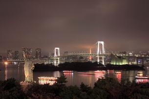 お台場の自由の女神とレインボーブリッジの夜景の写真素材 [FYI01479313]