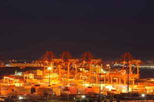コンテナターミナルの夜景の写真素材 [FYI01479634]