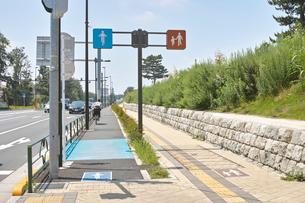 歩行者用と自転車用の通行区分の写真素材 [FYI01480288]