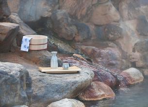 露天風呂の温泉イメージの写真素材 [FYI01480315]