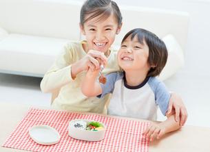 お弁当を食べる女の子と男の子の姉弟の写真素材 [FYI01480354]