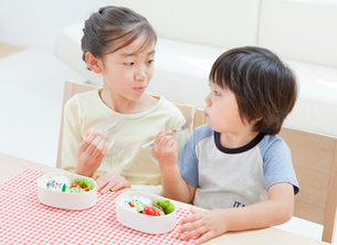 お弁当を食べる女の子と男の子の姉弟の写真素材 [FYI01480546]