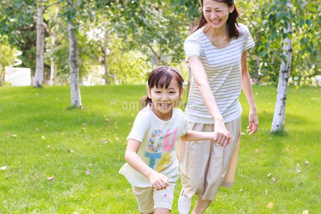 新緑の中、手をつないで走る母子の写真素材 [FYI01480568]