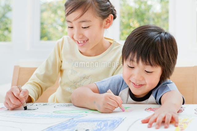 クレヨンで絵を描く女の子と男の子の姉弟の写真素材 [FYI01480665]