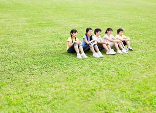 芝生に座る5人の小学生の男の子と女の子の写真素材 [FYI01480942]