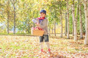 紅葉の中、リンゴを持つ6歳の男の子の写真素材 [FYI01481050]