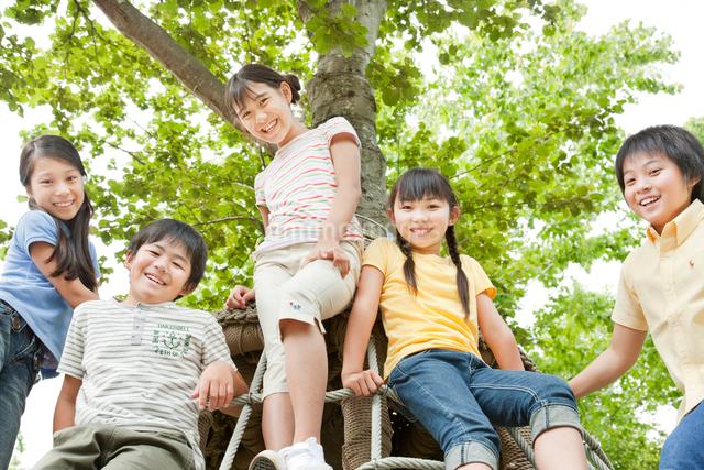 木の遊具に座る5人の小学生の写真素材 [FYI01481212]