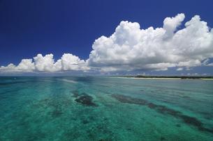 エメラルドグリーンの海と入道雲の写真素材 [FYI01481229]