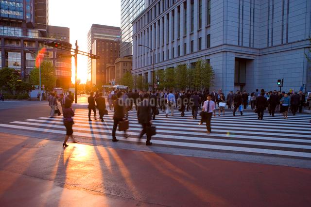 夕日とビジネスマンの通勤風景の写真素材 [FYI01482777]