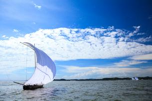 霞ヶ浦帆引き船と筑波山の写真素材 [FYI01486246]