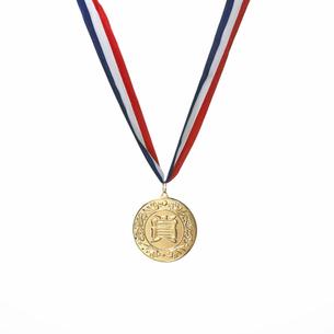白い背景の銅メダルの写真素材 [FYI01486315]