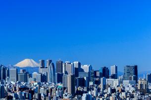 文京シビックセンターから望む新宿ビル群と富士山の写真素材 [FYI01486377]