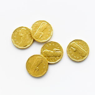 正面から見た金貨のレプリカの写真素材 [FYI01486839]
