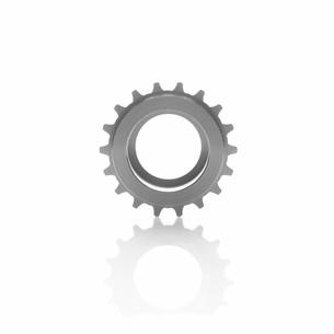 銀色の機械部品の歯車の写真素材 [FYI01487069]