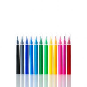 白い背景のカラフルなマジックペンの写真素材 [FYI01487161]