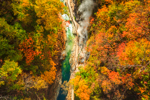 河原湯橋より俯瞰する小安峡の紅葉と大噴湯の写真素材 [FYI01488090]