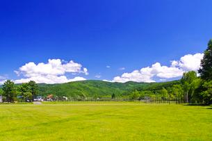 芝生の広場と新緑の山並みの写真素材 [FYI01489775]