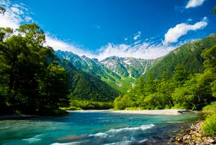 上高地から梓川と穂高連峰の写真素材 [FYI01491396]