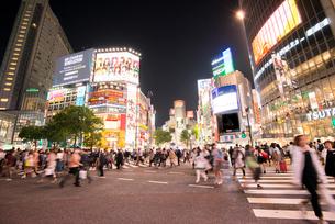 渋谷駅前交差点夕景の写真素材 [FYI01492969]
