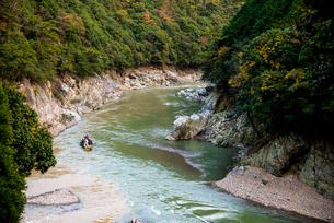 秋の桂川保津川下りの写真素材 [FYI01493140]