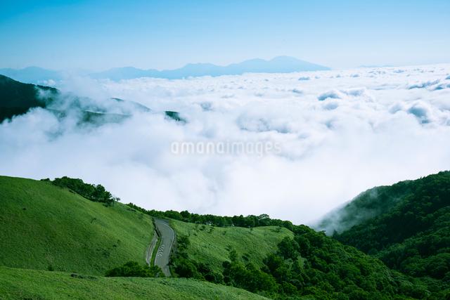 三峰山よりビーナスラインと雲海に浮かぶ浅間山の写真素材 [FYI01493348]