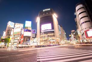 渋谷駅前交差点夕景の写真素材 [FYI01493605]