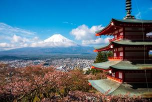 新倉山浅間神社五重塔と富士山の写真素材 [FYI01494511]
