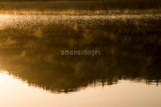 山影映す朝の中綱湖の写真素材 [FYI01494523]